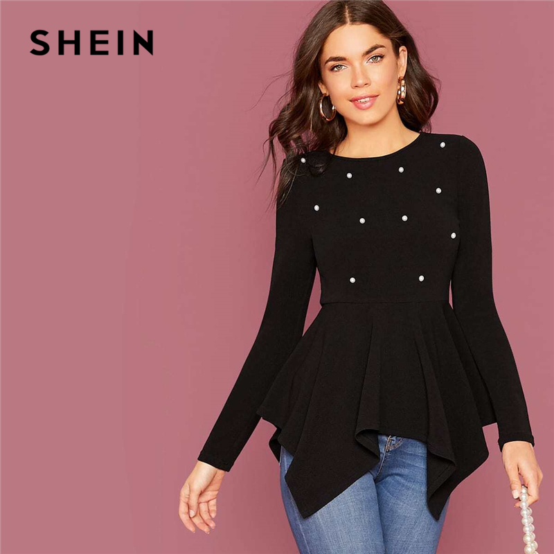 SHEIN Pearl Embellished Hanky Hem Peplum Top Women Spring Autumn Fitted Flared Round Neck Elegant Womens Tops And Blouses