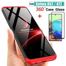 A52 5G A72 4G A 52 Case กรณีกระจกนิรภัย3 IN 1 360สำหรับ Samsung galaxy A52 A72 52 72 4G 5G กรณีเคลือบ