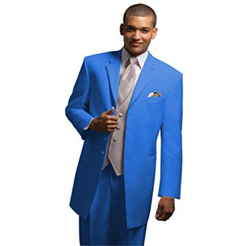 Four Buttons Groomsmen Tuxedos Three Pieces Men Suits Fits Groom Best Man For Wedding Dress Prom Dinner Dress(Jacket+Pants+Vest)