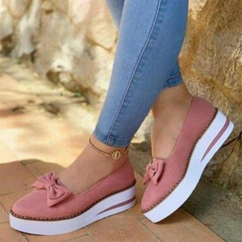 Женская летняя обувь; Модель 2020 года; Женские лоферы без шнуровки с бантом; Повседневная обувь на плоской платформе; Женская обувь для прогулок; Модная женская обувь с пряжкой Обувь без каблука      АлиЭкспресс