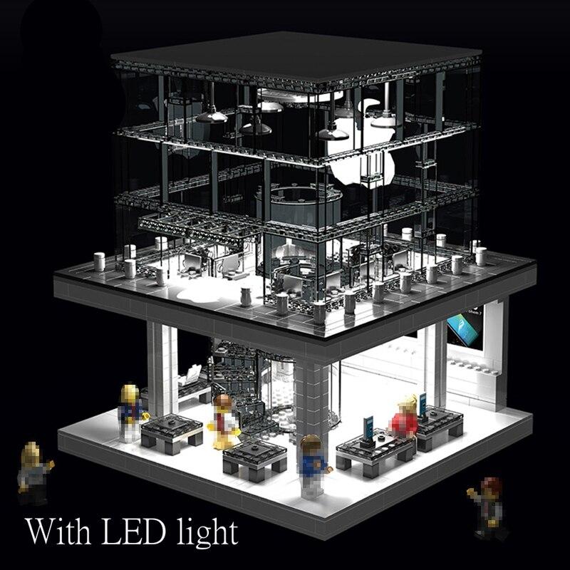 1116pcs Legoeds Technic Street Apple Store with Led Light Legoings City Building Blocks Light Verson Building Blocks Toy Gifts 1