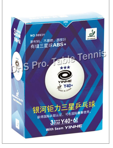 YINHE Galaxy 3-Star Seamed Table Tennis Balls Plastic 40+ ITTF Approved White Poly Ping Pong Balls