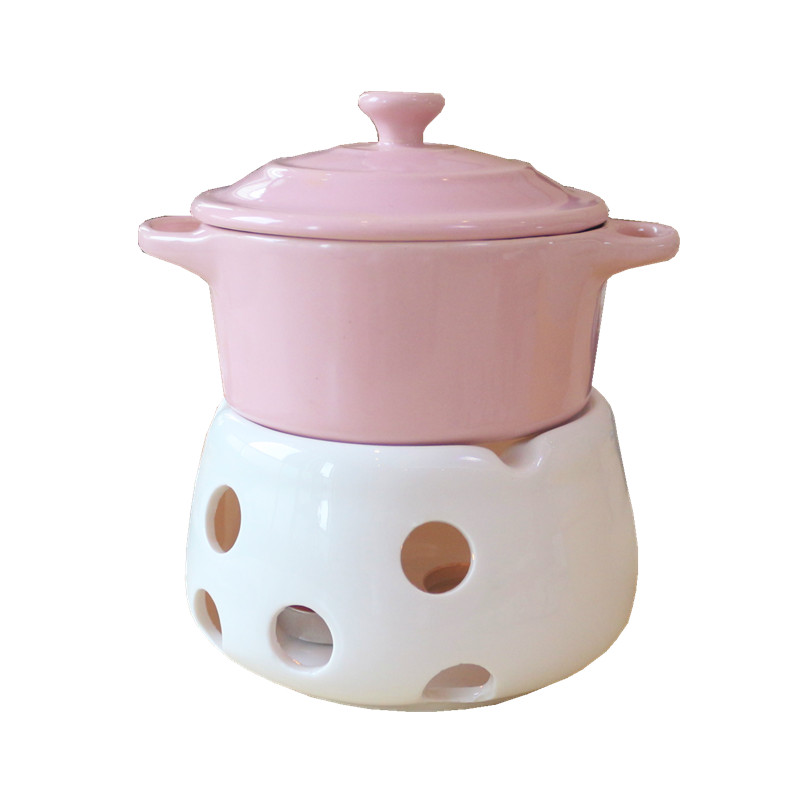 220ml Mini Chocolate Fondue Melting Pot With Candle Stove Cream Butter Cheese Candy Heating Melter Ceramics Hotpot Kitchen Tools