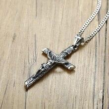 Antigo crucifixo de prata cruz encantos colar pingente aço inoxidável punk jóias para homens masculino jesus rosário presente batismo