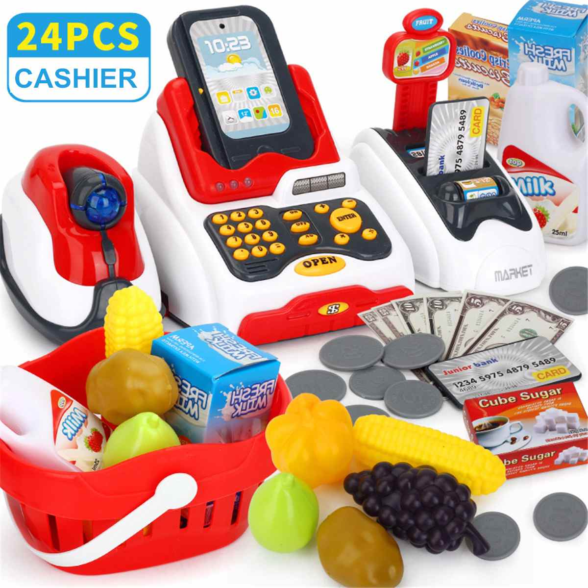 24pcs Children Learning Educational Toy Kids Cashier Pretend Play Gift Counter Cash Register Toy Simulated Model Supermarkt