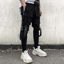 2020 joggers calças de carga para homens casual hip hop hit cor bolso masculino calças moletom streetwear fitas techwear calças # m