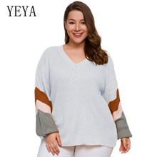YEYA Fall New Women V Neck Sweater Pullover Yellow Knitted Slim Sweaters Tops Winter Casual Jumper Top Plus Size 4XL