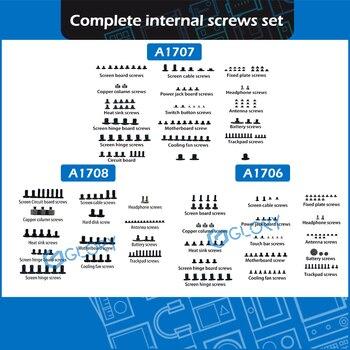 "Nuevo juego completo de tornillos internos para Macbook Pro, Retina de 13 ""15"" A1706 A1708 A1707, reemplazo de tornillo interno 2016 2017"
