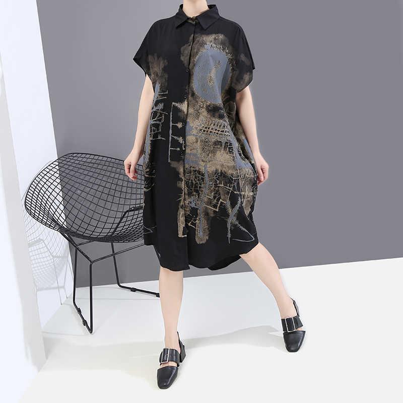 جديد 2020 الكورية نمط رسمت الصيف النساء السود فستان القميص خمر مطبوعة كبيرة الحجم السيدات أنيق فستان ميدي غير رسمي رداء 6107