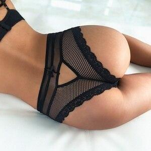 Женское нижнее белье, Ажурные кружевные трусики с бантиками, Бесшовные дышащие Однотонные трусы с низкой талией