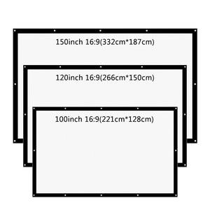 Image 2 - شاشة عرض الإسقاط من thundal مقاس 16:9 100 120 150 بوصة شاشة ستارة بيضاء من القماش شاشة عرض ثلاثية الأبعاد محمولة على الحائط