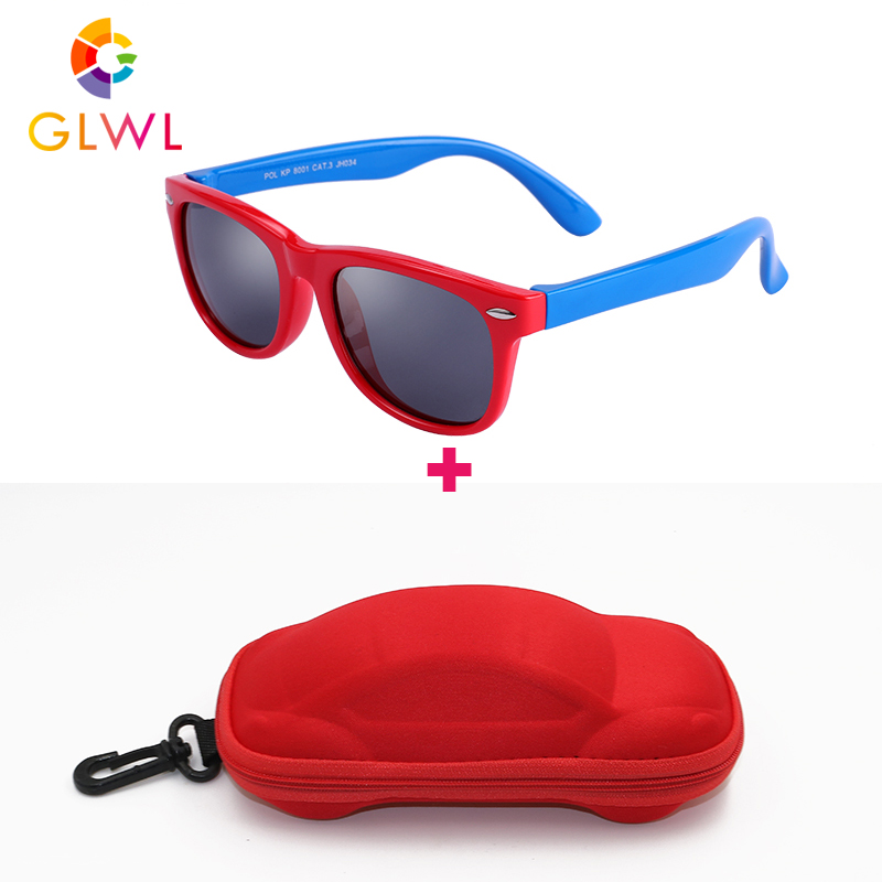 Kids Sunglasses Polarized Soft Frame Sun Glasses Girls Boys Silicone Children's Mirror Boxed Baby Eyeglasses UV400 Black Shades