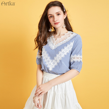 ARTKA 2020 Summer New Women Blouse Elegant Lace Patchwork Short Sleeve Blouse Lace V-Neck Blue Striped Shirt Women SA25008X lace panel blouse