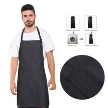 Kitchen Apron Delantal Cocina Kitchen Cooking Adjustable Bib Apron with Pocket Extra Long Ties for Women Men, Chef, Kitchen(China)