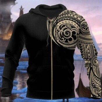 Viking Tattoo Polynesian style 3D Printed Hoodie 3