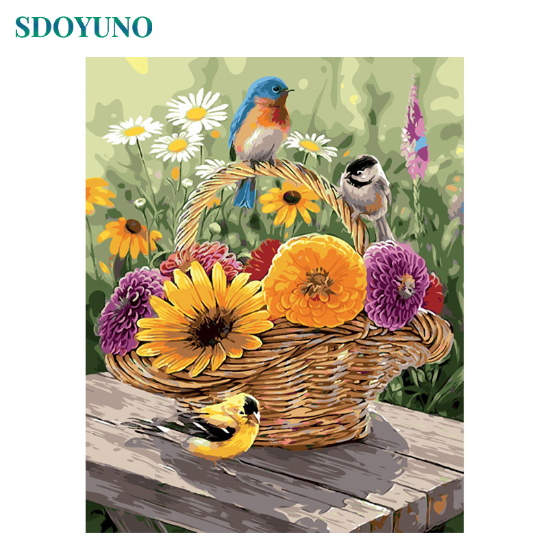 SDOYUNO Oil Painting By Numbers Flower And Bird Room Decoration Pictures By Numbers Canvas Painting Diy Frameless 60X75cm