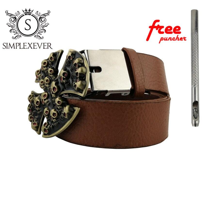 3D Skull Solid Brass Belt Buckle Western Metal Cowboy Belt Buckle For Men With Belt Drop Shipping