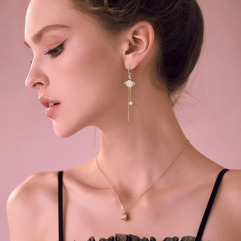 Zircon asymmetric planet earrings alloy crystal planet earrings Korean women fashion earrings jewelry