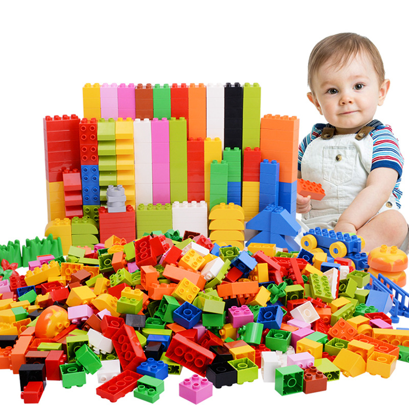 68-272PCS Big Building Blocks Colorful Bulk Bricks With Figure Accessories Compatible Legoes Duploed Toys For Children Gifts