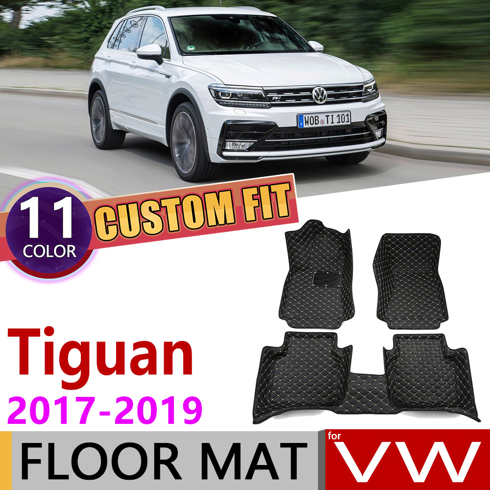 Custom Car Leather Floor Mats For Volkswagen VW Tiguan 5N 2017 2018 2019 5 Seats Waterprool Auto Foot Pad Carpet Accessories