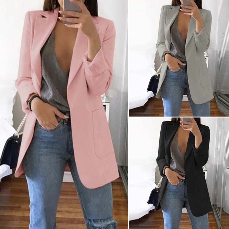 Women's Suits Elegant Solid Blazer 2019 Autumn Lapel Neck Jackets Cardigans Female Casual Work Coat Plus Size Overcoats Casaco