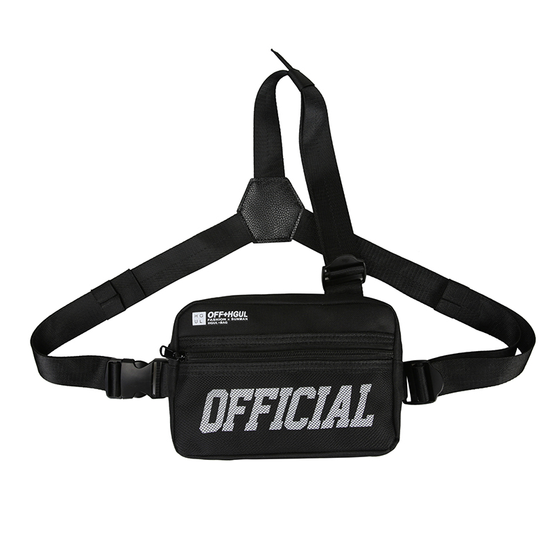 Black Tri-Strap Chest Utility Bag Small Tactical Men Chest Rig Bag Hip-hop Functional Vest Outdoor Streetwear Chest Bags For Men
