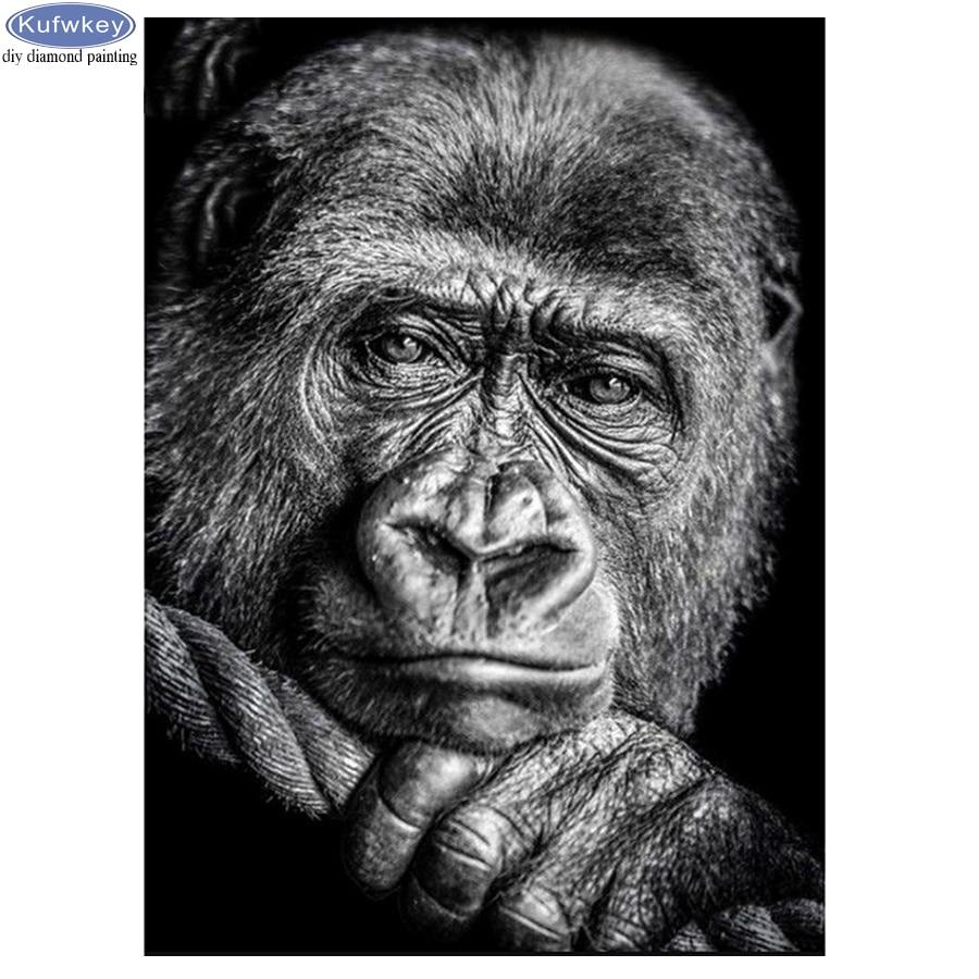 Gorila blanco negro 5D DIY diamante bordado cuadrado completo/taladro redondo diy diamante pintura mono mosaico costura decoración para el hogar Cubot Max 2 Android 9,0 Octa-Core 6,8
