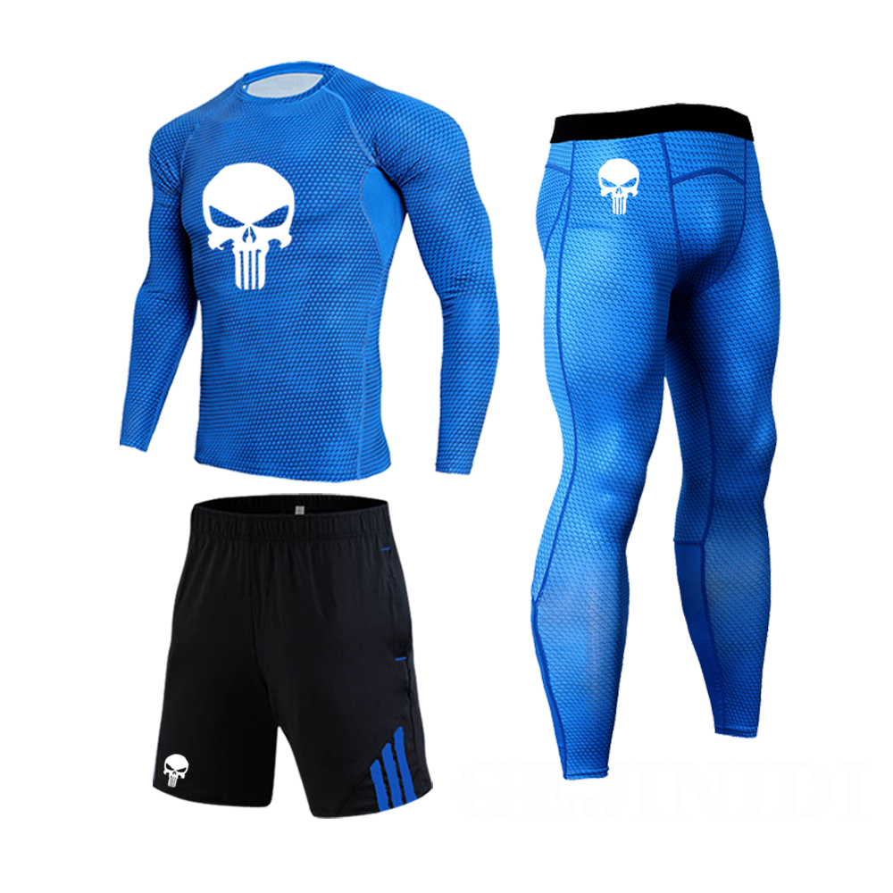 Men Tracksuit 3-pc/set Running Tights Compression Basketball Shirt Gym Clothing Quick Dry Cycling Underwear Outdoor Jogging Set