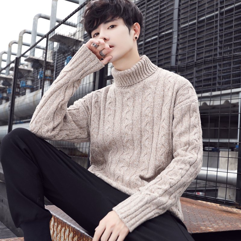 2019 Winter Men's Slim Fit In Warm Cashmere Turtleneck Woolen Sweaters Pullover Casual Knitting V-neck Sleeve Single Man Knit