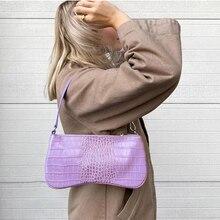 Однотонная сумка-багет с крокодиловым узором, Новая модная женская сумка на плечо и кошельки, высококачественные Женские Сумки из искусств...
