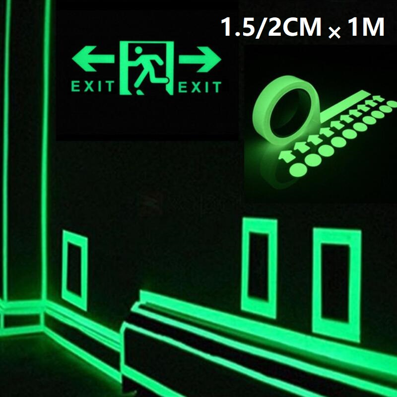 1.5 2 Cm Green Reflective Glow Tape Self-adhesive Sticker Removable Luminous Tape Fluorescent Glowing Dark Striking Warning Tape