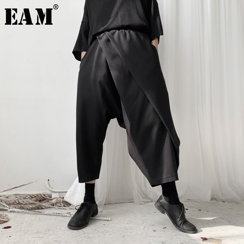 [EAM] High Elastic Waist Black Brief Split Harem Trousers New Loose Fit Pants Women Fashion Tide Spring Autumn 2020 19A-a568