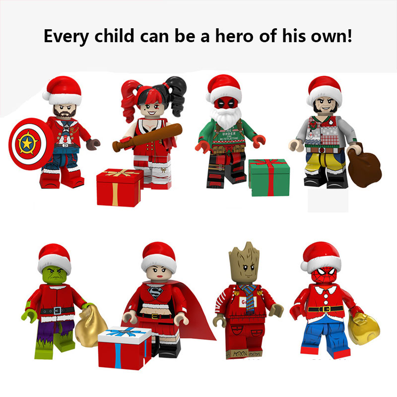 Legoed Christmas Serices Model Santa Claus Elk Thor Iron Man Spider Man Grinch Wolverine Building Blocks Toys For Children Gifts