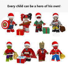 legoed Christmas serices model Santa Claus Elk Thor Iron man Spider man Grinch Wolverine Building Blocks Toys for Children Gifts(China)