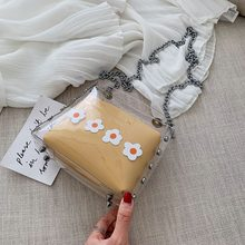 New women's bag small square bag transparent jelly small bag fashion wild chain female bag shoulder diagonal bag female bag 2020 new simple fashion solid color transparent jelly color small square bag diagonal bag diagonal bag
