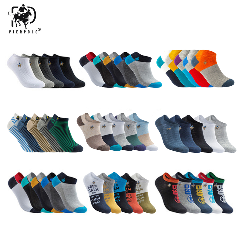New Brand Socks Men 5pairs/lot High Quality PIER POLO Summer Cotton Socks Casual Short Funny Ankle Socks Men Meia Calcetines