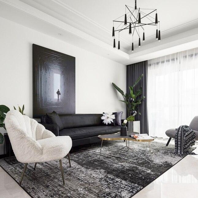 Tapis scandinave salon table basse tapis simple moderne salon tapis abstrait noir gris tapis