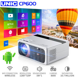 UNIC Beamer Proyector Android Cinema Wifi CP600 Lumens Full-Hd 4K 55W 8000 for Hdmi VGA