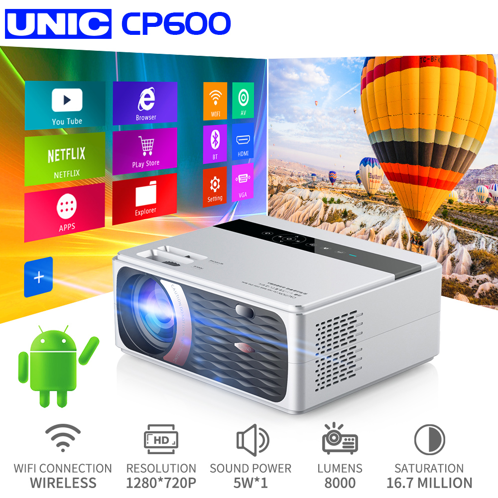 UNIC CP600 55W Full HD 1080P Projector 4K 8000 Lumens Cinema Proyector Beamer For Android WiFi Hdmi VGA AV USB Port