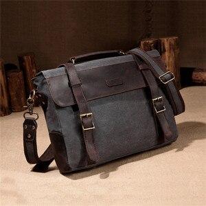 Image 5 - VASCHY Men Vintage Briefcase Genuine Leather Canvas Messenger Bag for Men Business Shoulder Bag Fits 14 inch Laptop Handbag