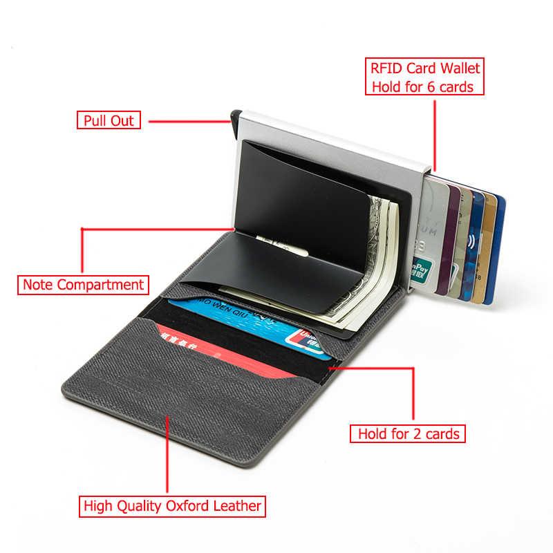 BISI GORO nowa karta blokująca rfid uchwyt antykradzieżowe sprzęgło pojedyncze pudełko mężczyźni kobiety portfel 2020 Denim Business Pop-up metalowe etui na dowód