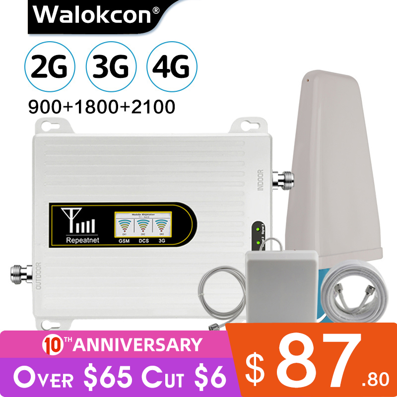 Walokcon Cellular Booster 2g 3g 4g Signal Repeater GSM DCS/LTE  WCDMA 10dBi Gain Antenna For 900/1800/2100 MHz Amplifier Antenna