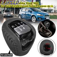 Perilla de cambio del engranaje del coche de 5 velocidades para Buick Excelle Lacetti Nubira Daewoo 2008-2012 para Chevrolet AVEO POMO 2009 -2013 para Fiat de cuero