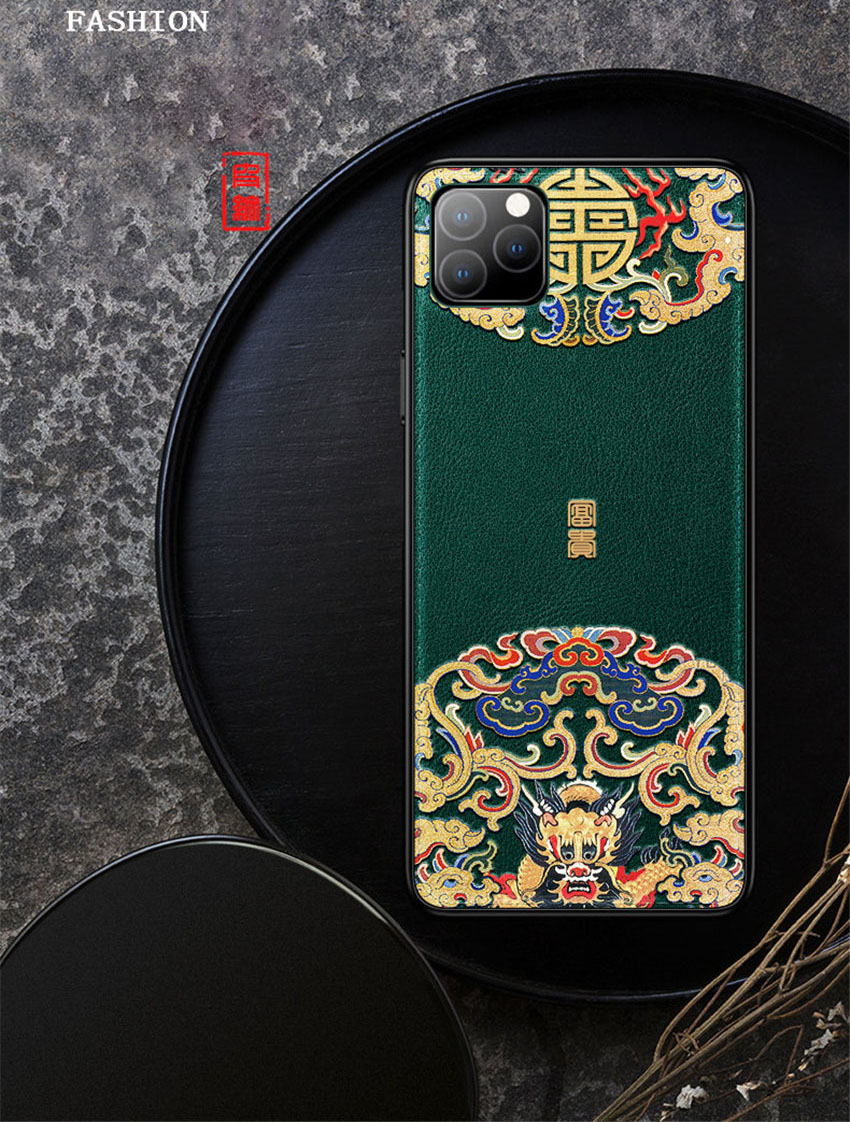 Embossed Leather Back Cover For iPhone 11 2019 iPhone 11 Pro Max iPhone XR X Xs Max Case Special China Style Phone Cases Aixuan (1)