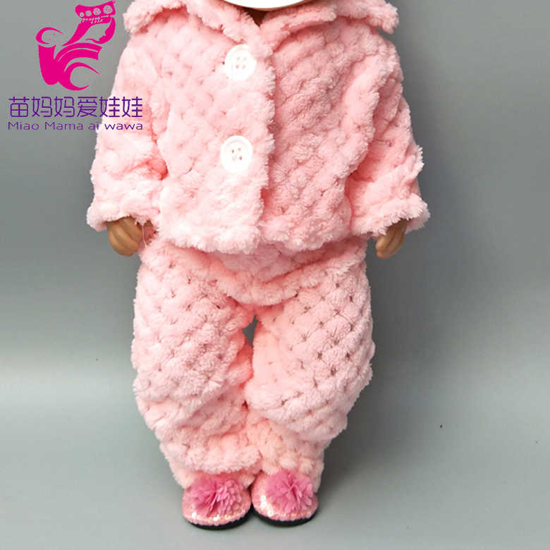 43cm baby doll warm pink fur clothes 18 inch girl doll winter clothes for doll toys