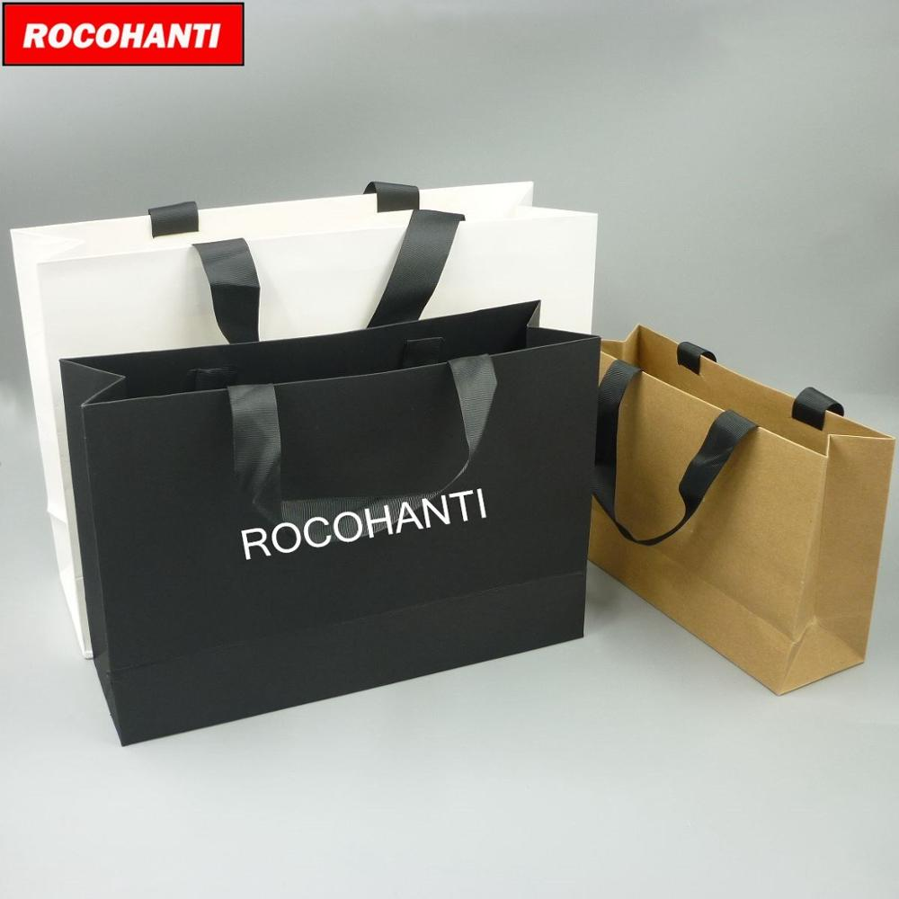 100X Wholesale Custom Printed Your Own Logo White Brown Black Paperboard Art Paper Shopping Paper Bag With Ribbon Handles