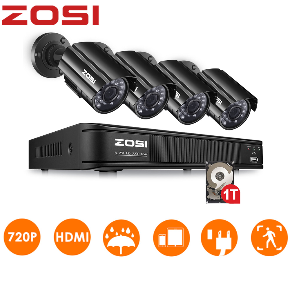 ZOSI 8 Channel CCTV System 720P DVR 1MP Weatherproof Outdoor Nightvision Video Camera Home Security System Surveillance DVR Kit