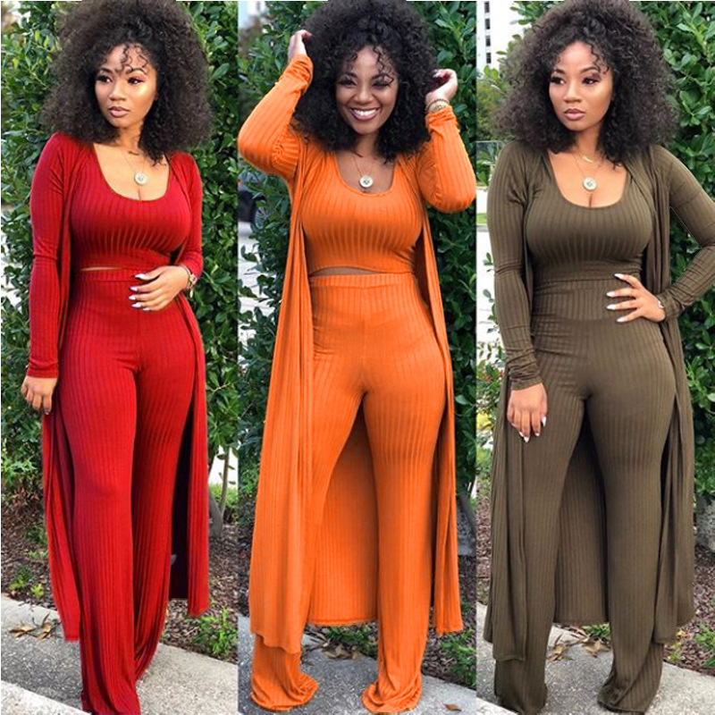 New Style African Women Clothing Dashiki Fashion High Waist Strip 3piece Set  Size Winter Autumn Long Coat Sweater Pants Sexy