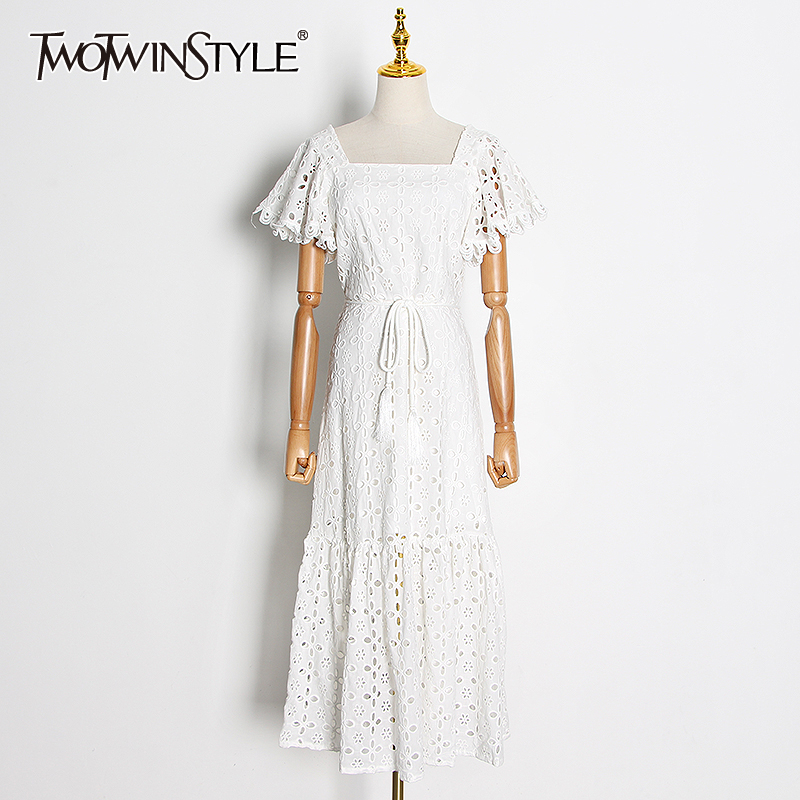 TWOTWINSTYLE Casual Hollow Out Dresses Female Square Collar Short Sleeve High Waist Lace Up Bow Midi Summer Dress Women Fashion
