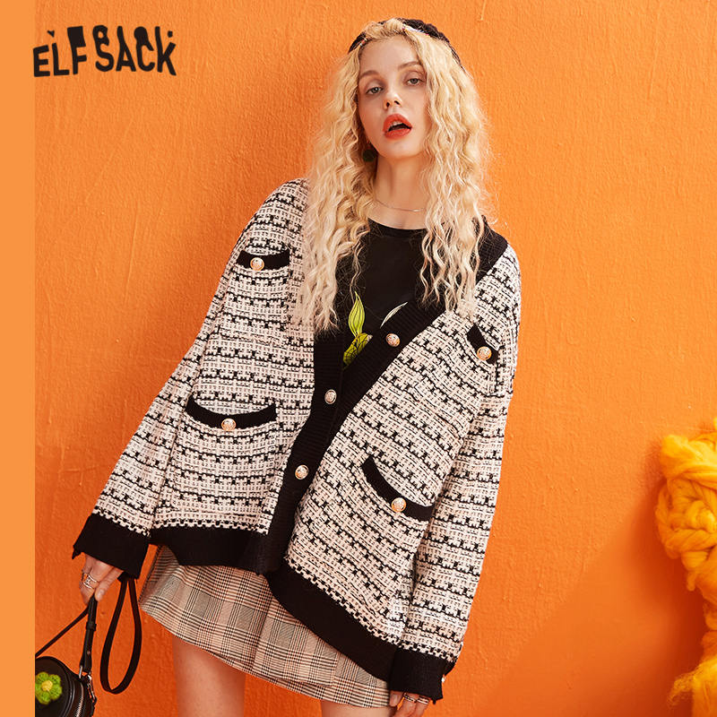 ELFSACK Colorblock Metal Button Vintage Knitted Cardigans Women Sweaters 2019 Winter Single Breast Office Ladies Daily Sweet Top